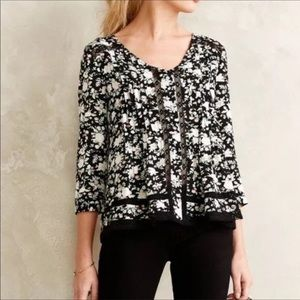 Anthropologie Maeve floral and black lace blouse
